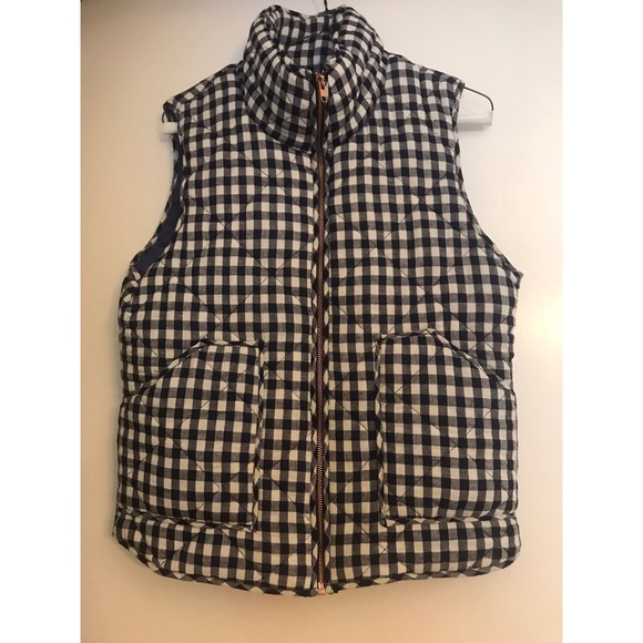 Peach Love California Jackets & Blazers - Peach Love Navy White Gingham Puffer Vest Check Sm